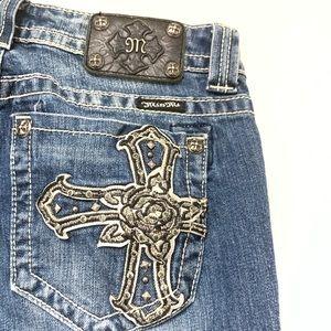 Miss Me embellished rhinestone cross pocket jeans
